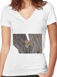 Young Masai Lion (Panthera leo massaica) on a Tree Women's Fitted V-Neck T-Shirt