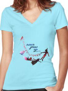 Never Grow Up Nebula Blue Women's Fitted V-Neck T-Shirt