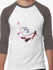 Never Grow Up Nebula Blue Men's Baseball ¾ T-Shirt
