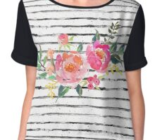 Watercolor Flowers Coral Pink Striped  Chiffon Top