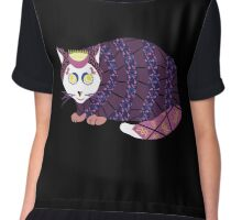 Abstract Cat [WHITE] Women's Chiffon Top