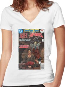 ASH LEATHER FACE EVIL DEAD Women's Fitted V-Neck T-Shirt