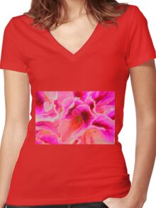 Fantasy in Pink ( Painting ) Women's Fitted V-Neck T-Shirt