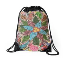 Flower, Teardrops, and Bubbles Drawstring Bag