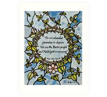 Crown of Thorns by Leslie Berg with Quotation Art Print