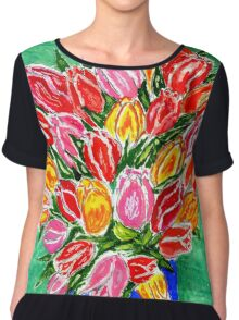 Tulips in a Vase Painting Chiffon Top