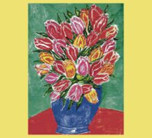 Tulips in a Vase Painting One Piece - Short Sleeve