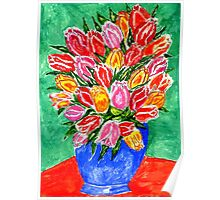 Tulips in a Vase Painting Poster