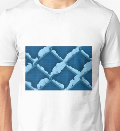 Fence With Snow in Blue Unisex T-Shirt