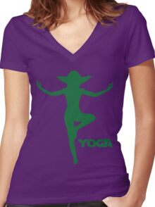 Yoga Yoda Women's Fitted V-Neck T-Shirt