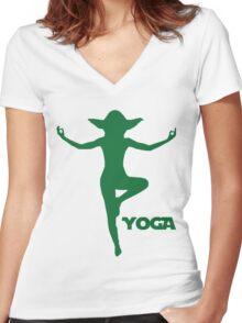 Yoga Yoda Women's Fitted V-Neck T-Shirt