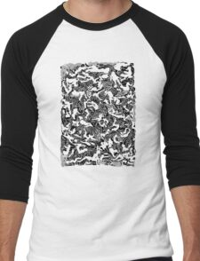 Bodies 2 Figures Doodle in Black and White Men's Baseball ¾ T-Shirt