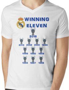 Real Madrid Winning 11 Champions League (A) Mens V-Neck T-Shirt