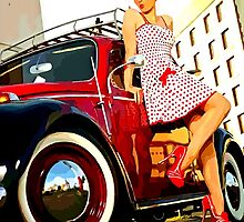 Beetle Pin up Girl by Sharon Poulton