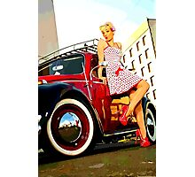 Beetle Pin up Girl Photographic Print