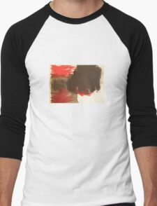 Action painting in black and red Men's Baseball ¾ T-Shirt
