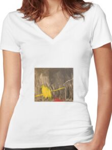 Action painting in black, yellow and red Women's Fitted V-Neck T-Shirt