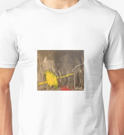Action painting in black, yellow and red Unisex T-Shirt