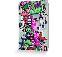 City Lady green Greeting Card