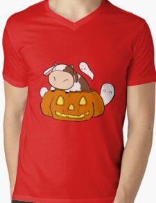 Spooky Halloween Cow Mens V-Neck T-Shirt