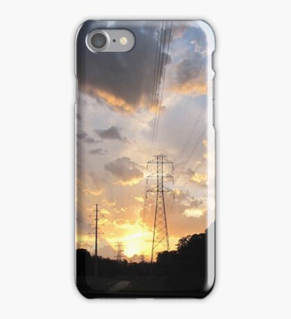 Electrical towers in the sunset iPhone Case/Skin