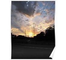 Electrical towers in the sunset Poster