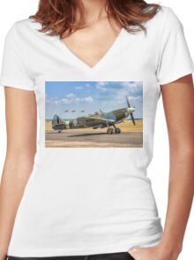 The Grace Spitfire taxies out Women's Fitted V-Neck T-Shirt