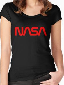 NASA 'Worm logo' Women's Fitted Scoop T-Shirt