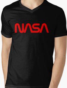 NASA Worm logo Mens V-Neck T-Shirt
