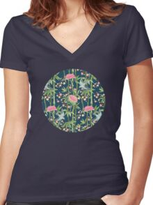 Bamboo, Birds and Blossom - dark teal Women's Fitted V-Neck T-Shirt