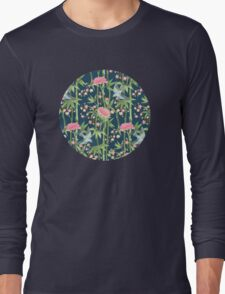 Bamboo, Birds and Blossom - dark teal Long Sleeve T-Shirt