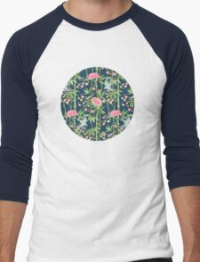 Bamboo, Birds and Blossom - dark teal Men's Baseball ¾ T-Shirt