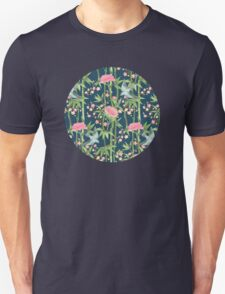 Bamboo, Birds and Blossom - dark teal Unisex T-Shirt