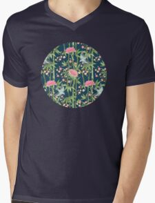 Bamboo, Birds and Blossom - dark teal Mens V-Neck T-Shirt