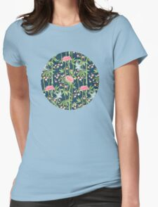 Bamboo, Birds and Blossom - dark teal Womens Fitted T-Shirt