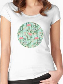 Bamboo, Birds and Blossom - soft blue green Women's Fitted Scoop T-Shirt