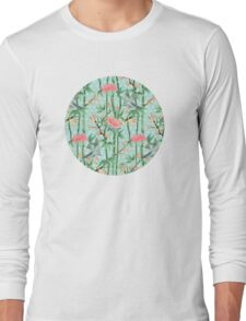 Bamboo, Birds and Blossom - soft blue green Long Sleeve T-Shirt
