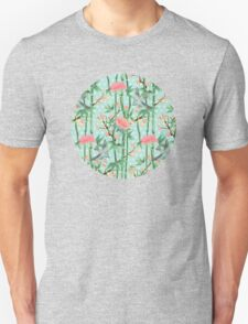 Bamboo, Birds and Blossom - soft blue green Unisex T-Shirt