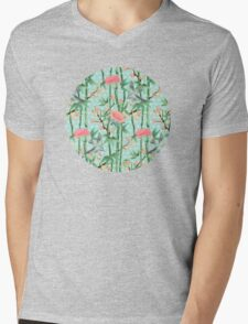 Bamboo, Birds and Blossom - soft blue green Mens V-Neck T-Shirt