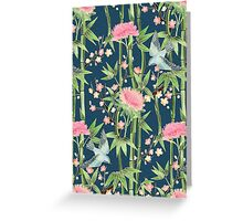 Bamboo, Birds and Blossom - dark teal Greeting Card