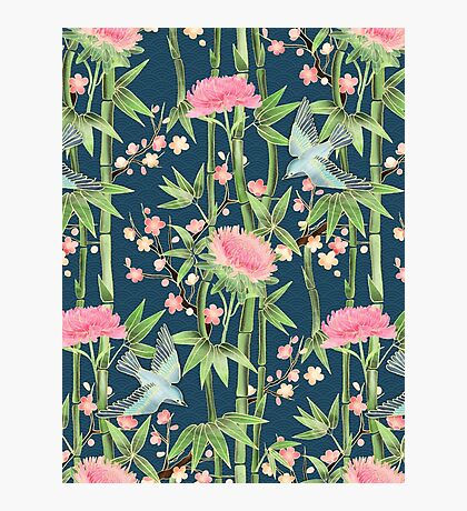 Bamboo, Birds and Blossom - dark teal Photographic Print