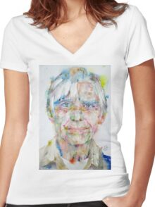WILLEM DE KOONING - watercolor portrait Women's Fitted V-Neck T-Shirt