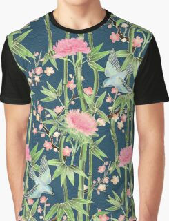 Bamboo, Birds and Blossom - dark teal Graphic T-Shirt