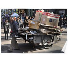 Korean Guy Collecting Boxes for Recycling Poster