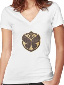 Tomorrowland logo Women's Fitted V-Neck T-Shirt