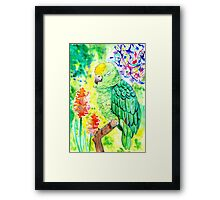 Sleepy Parrot Painting || Watercolor and Ink Framed Print