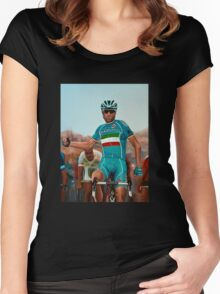 Vincenzo Nibali Painting Women's Fitted Scoop T-Shirt