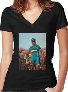 Vincenzo Nibali Painting Women's Fitted V-Neck T-Shirt