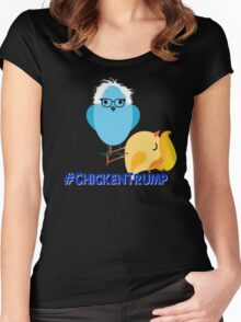#Chickentrump Chicken Trump Donald Bernie Sanders #birdiesanders #feelthebern #dumptrump Funny Cartoon Democrat Hillary Women's Fitted Scoop T-Shirt