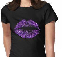 Stylish Purple Glitter Lips Womens Fitted T-Shirt